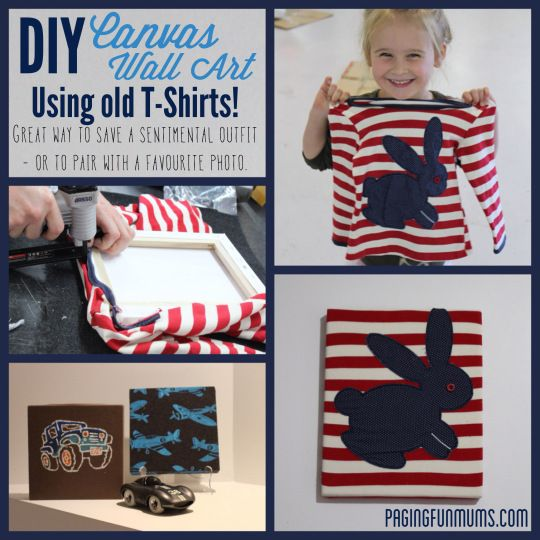 DIY Canvas Wall Art ~ I have some baby clothes that would be perfect for this!