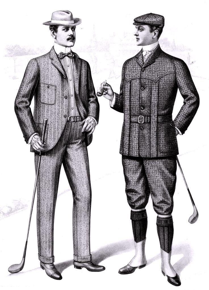 Костюм с тремя пуговицами и накладными карманами (слева) и костюм для гольфа, состоящий из пиджака Норфольк и бриджами, 1901 неизвестен, Public Domain