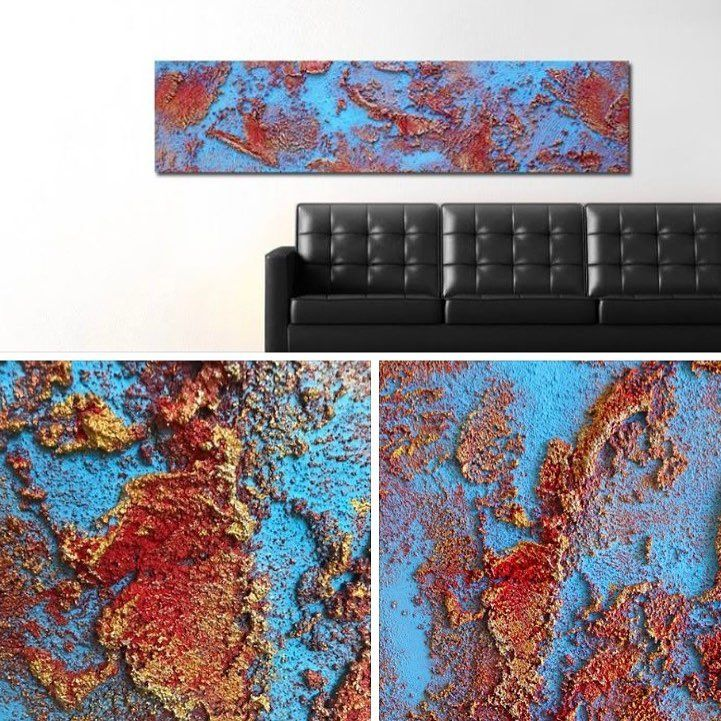 """Oxidized metal-   The third painting in the new 2017 oxidized metal collection """"Cobalt and Rust""""   All three of the new paintings are going to be at the open studio show """"get your hands dirty!"""". So if you want to see them in person, stop by  the open studio show on December 2nd in mesa, Az. #art #artistsoninstagram #interiordesign #minimalist #concrete #abstractart #contemporaryart #industrialdesign"""