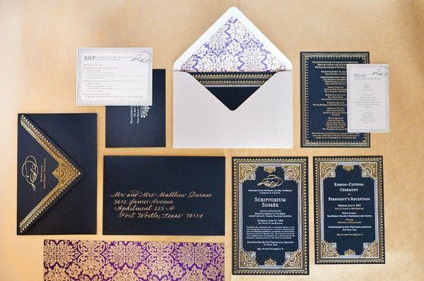Elaborate Metallic Foil Middle Eastern Invitations by Aubri Duran via Oh So Beautiful Paper