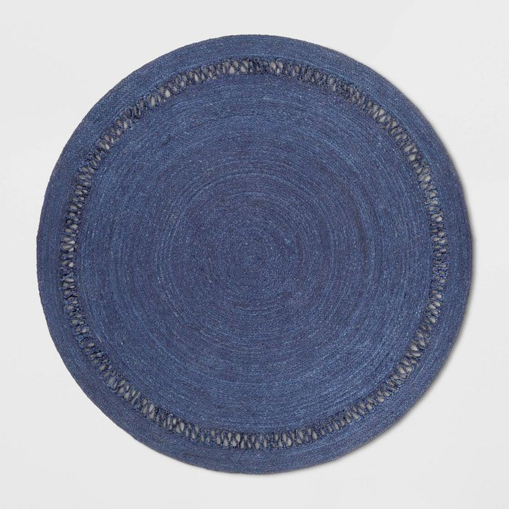 6' Solid Braided Round Area Rug Navy Opalhouse, Blue