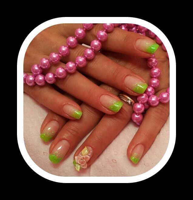verde acido con rosa 3d