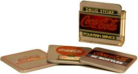 HTD Canada Coca Cola Coaster Set 4 pc Coca Cola Coaster Set with stand Size:4 x 4 x 3/16