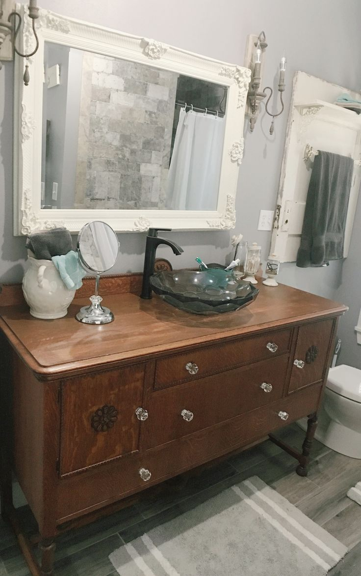 French country decor bathroom - Kohler Vessel Sink Antique Buffet Buffet Bathroom Vanity Repurposed Antique Farmhouse Decor