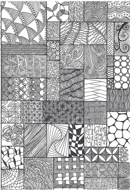 zentangle pattern sheet - Almost a 3D look to it.