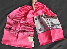 Vintage Saks Fifth Avenue Shocking Pink Scarf  Moulin Rouge Theme Paris France