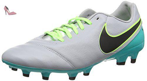 Nike Tiempo Genio II Leather FG, Chaussures de Running Compétition Homme, Clear Jade, Black, Volt, 46 EU