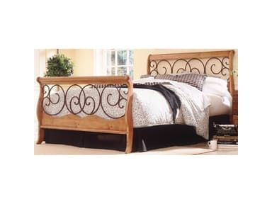 Fashion Bed Group Dunhill Complete Bed with Wood Sleigh Style Frame and Autumn Brown Metal Swirling Scrolls, Honey Oak Finish, California King B91D07