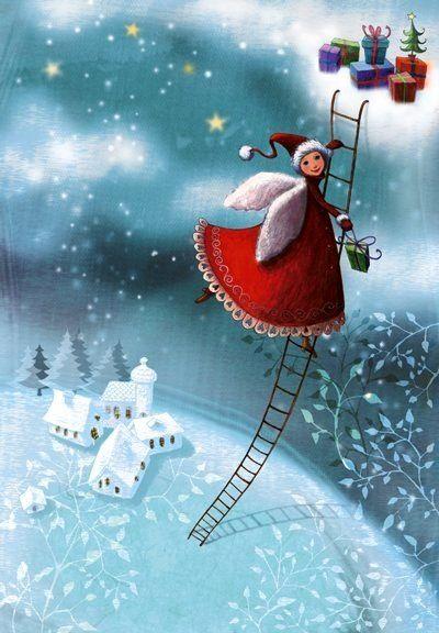 Snow angel artist Illustration by www.MilaMarquis.com and www.Facebook.com/MilaMarquisillustration