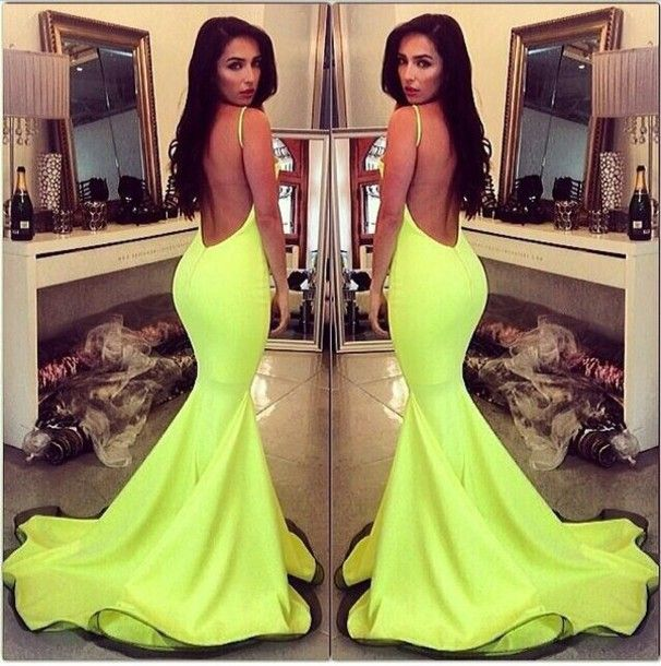 Lime green mermaid prom dress