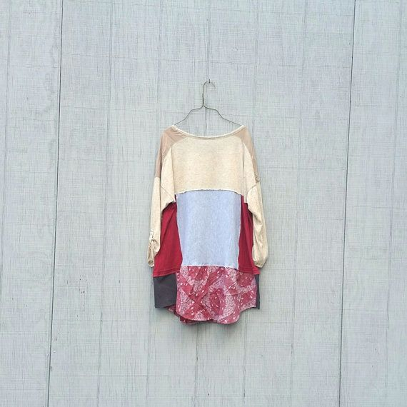 Patchwork red frock dress funky upcycled boho gypsy  wearable