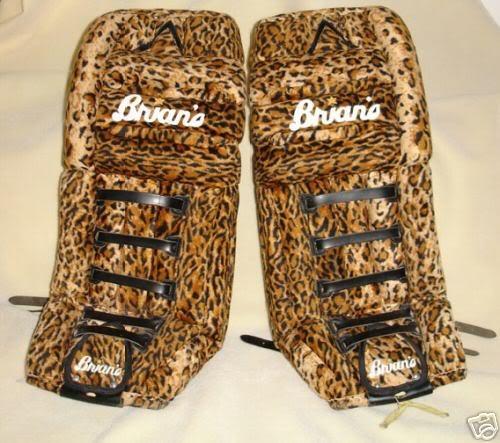Brian's leopard skin goalie pads