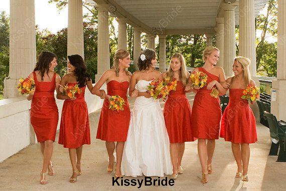 Short Orange Bridesmaid Dresses 59