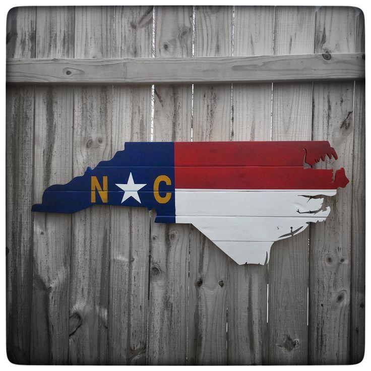 North Carolina Shape Wood Cutout - State Flag