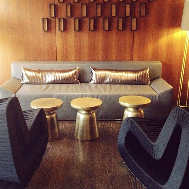 Metallic glamour at the W Los Angeles via @Rue Mapp Magazine, featuring west elm's Martini Side Tables.