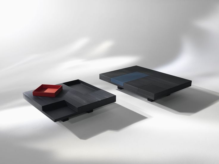 N.Y._1 #Coffee #table in black satin laquered wood with red removable tray, rectangular or square | Designed by Carlo Cumini | #home #decor #design #luxury #interiors #arredamento #interiores #furniture #tables