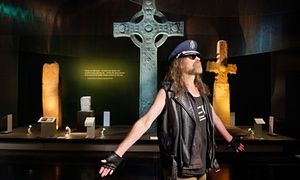 Julian Cope at the British Museum's Celts exhibition in London.