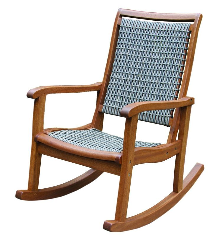Amazon.com : Outdoor Interiors Resin Wicker and Eucalyptus Rocking Chair, Brown and Grey : Patio, Lawn & Garden $163