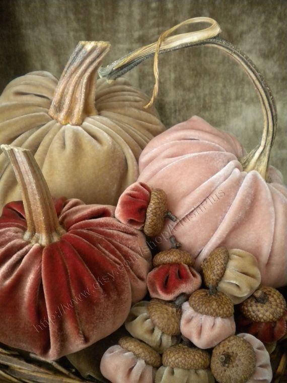 Velvet PUMPKINS & Velvet ACORNS - Real Pumpkin Stems and Real Acorn Caps - Fall Blush