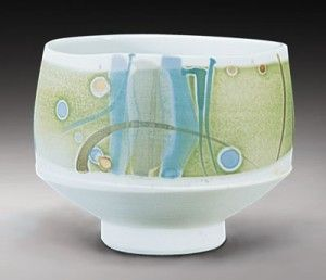 Gary Holt  Porcelain with water-soluble metals salts  Lovely light-hearted colors! Love it!