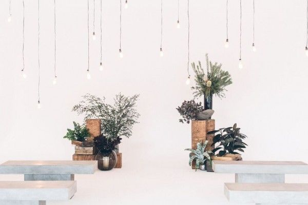 """Smashbox Studios, founded by the Max Factor heirs, got a """"makeover' last year. Bright whites for this Los Angeles wedding and event industrial space. Perfect for edison bulbs!"""