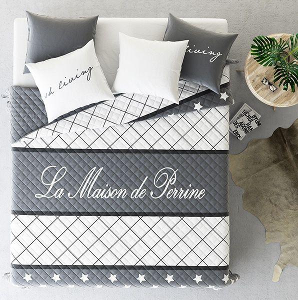 Sypialniane narzuty na łóżko w kolorze szarym z białą kratką