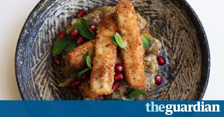 Crispy fried fingers of halloumi meet creamy aubergine and the pop-up taste of pomegranate seeds. By Nigel Slater