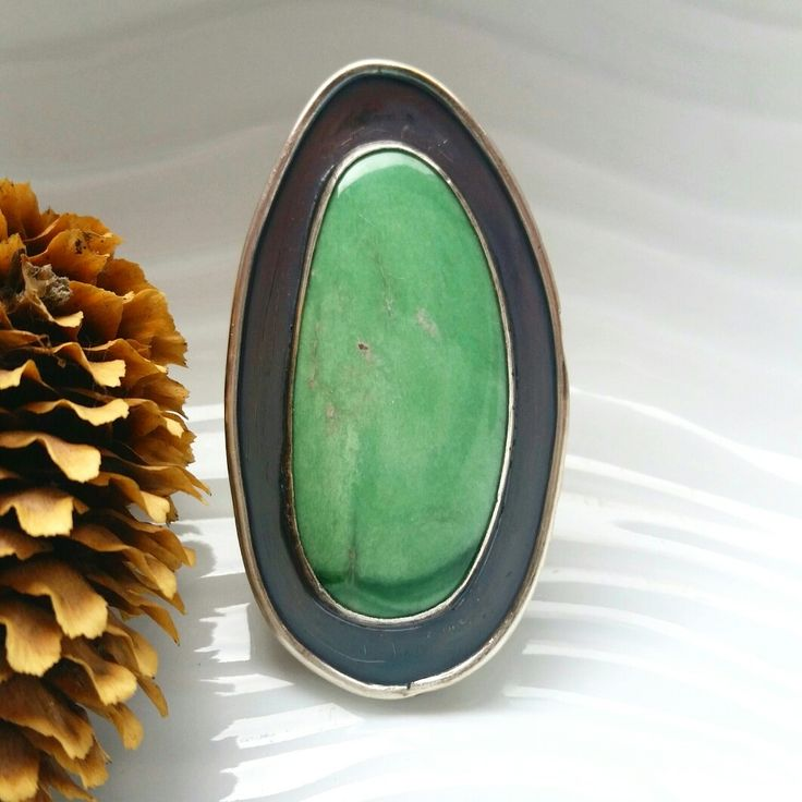 Large Variscite Sterling Silver Shadow-Box Statement Ring