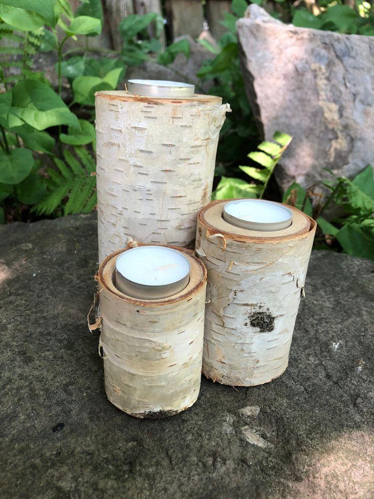 White Birch Log Wood Tea Light Candle Holder Set of 3