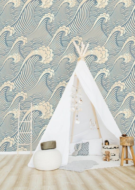 Blue Waves Removable Wallpaper Peel And Stick Wallpaper Wall Etsy Removable Wallpaper Wall Wallpaper Peel And Stick Wallpaper