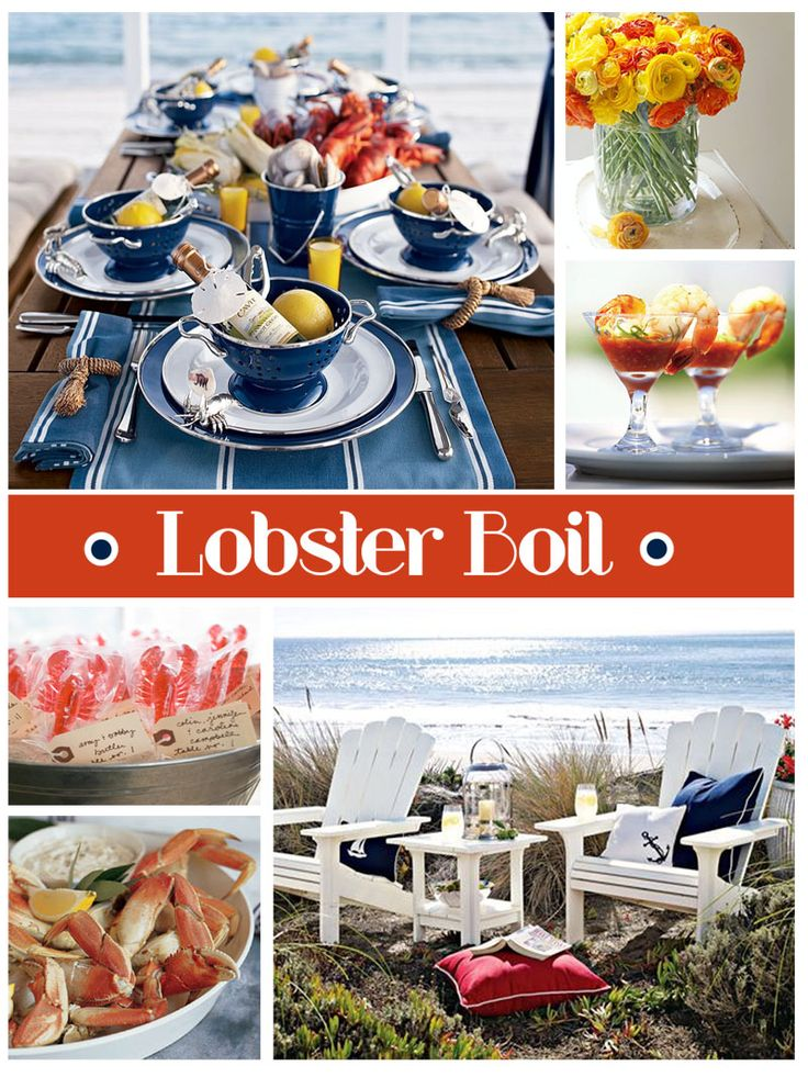Clam bake/ Lobster boil dinner party tablescape - The perfect Maritime Canada Day dinner party!