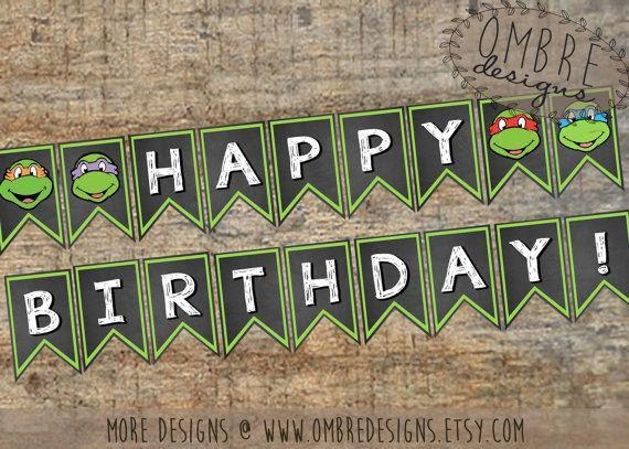 Ninja Turtles Banner, TMNT Banner, Ninja Turle Party, Ninja Turtle Invitation, Printable, Decorations, TMNT Party