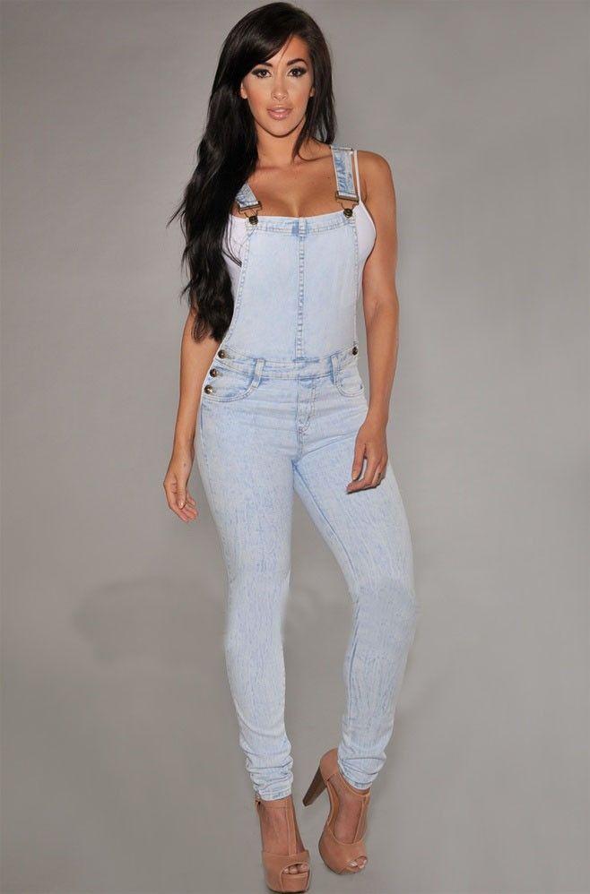 Jeans Phụ Nữ Demin Quần Jumpsuit Jumpsuit Màu Xanh Rompers Womens Jumpsuit Jeans Xiêm Denim Áo Treo