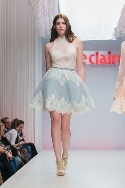 Nora Sarman SS 2015  French lace and tulle body and light blue and ivory skirt