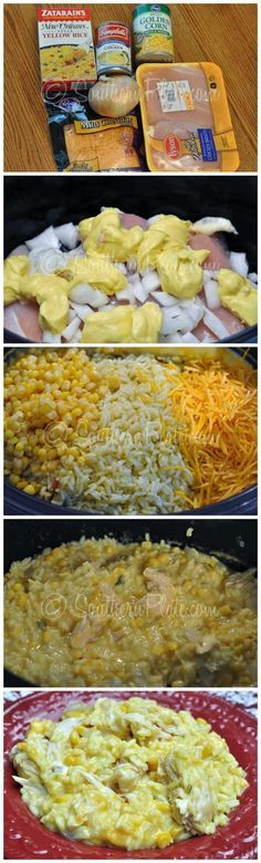 Slow Cooker Cheesy Chicken And Rice, crockpot. Just cook the rice first and throw in to heat up at the end.