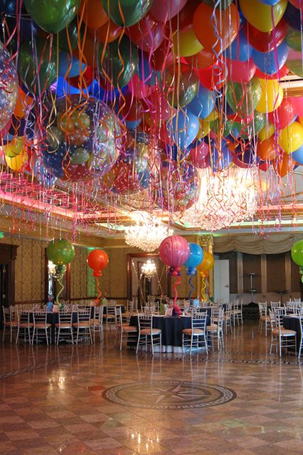 Multi Colored Loose Balloons on Ceiling with Exploding Balloon Release