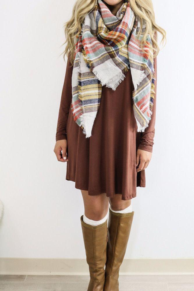 Royal Tower Cocoa Brown Long Sleeve Basic Dress...