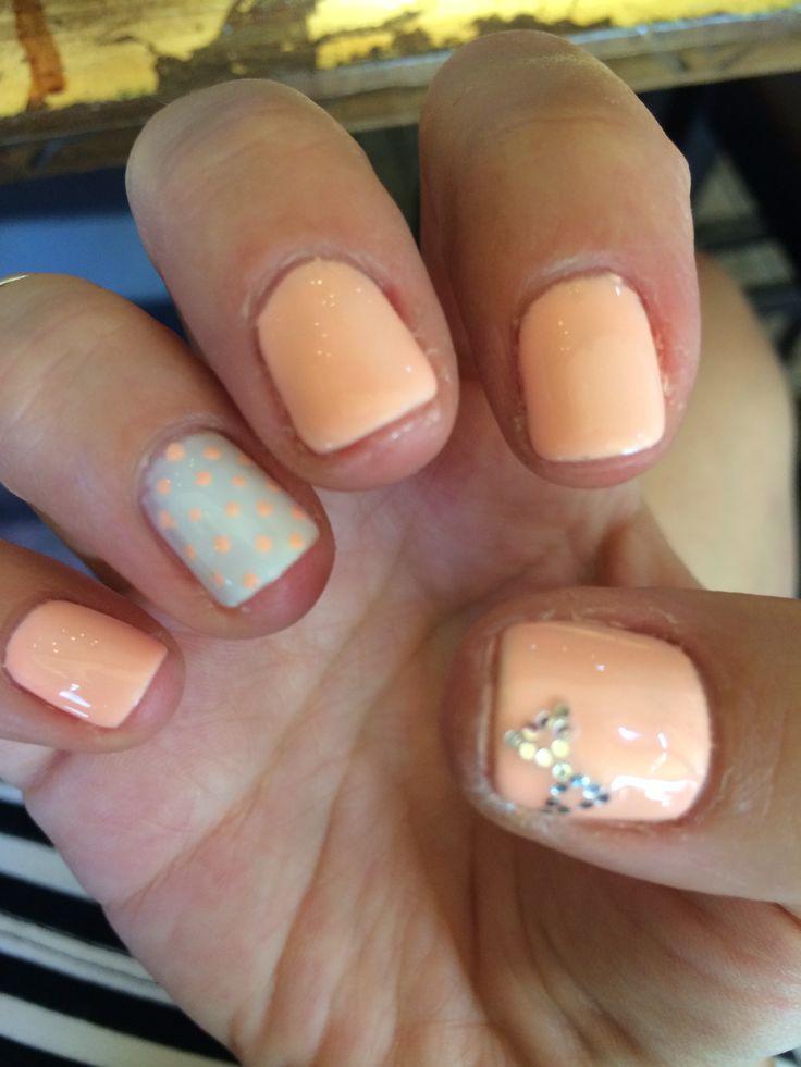 #Peach #white #bow #polkadot #nailart
