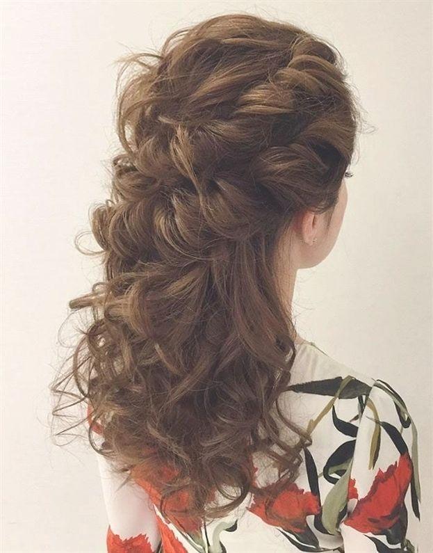 Half Up Half Down Curly Hairstyles Half Up Half Down Hairstyles Wedding Casual Half Up Half Down Hairstyles Curlyh Frisyrer Frisyr Halvlangt Har Lockigt Har