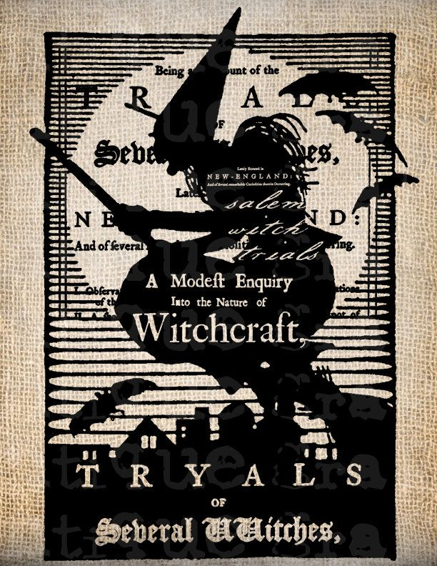 antique salem witch trial halloween script illustration digital download for papercrafts transfer pillows - Halloween Witchcraft