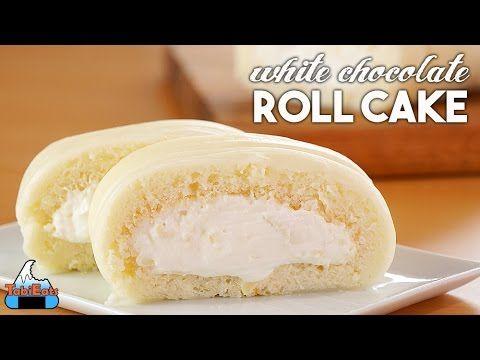 White chocolate roll cake
