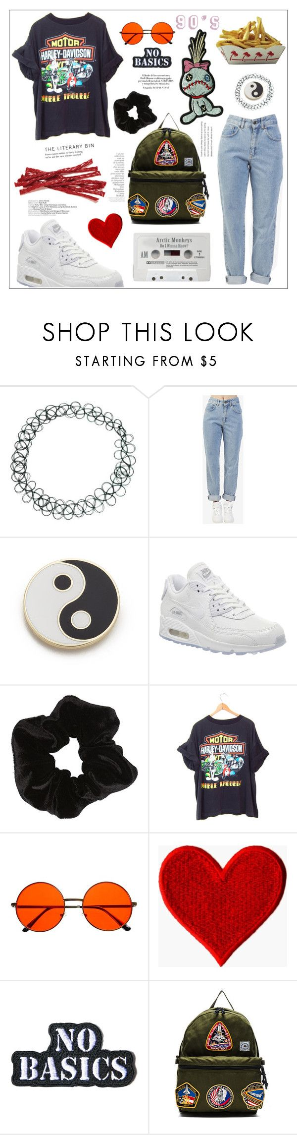 """90's"" by amanda-alyssa-montalvo ❤ liked on Polyvore featuring ASOS, The Ragged Priest, Georgia Perry, NIKE, Harley-Davidson, Hollywood Mirror, Epperson Mountaineering, Hot Topic and By Terry"