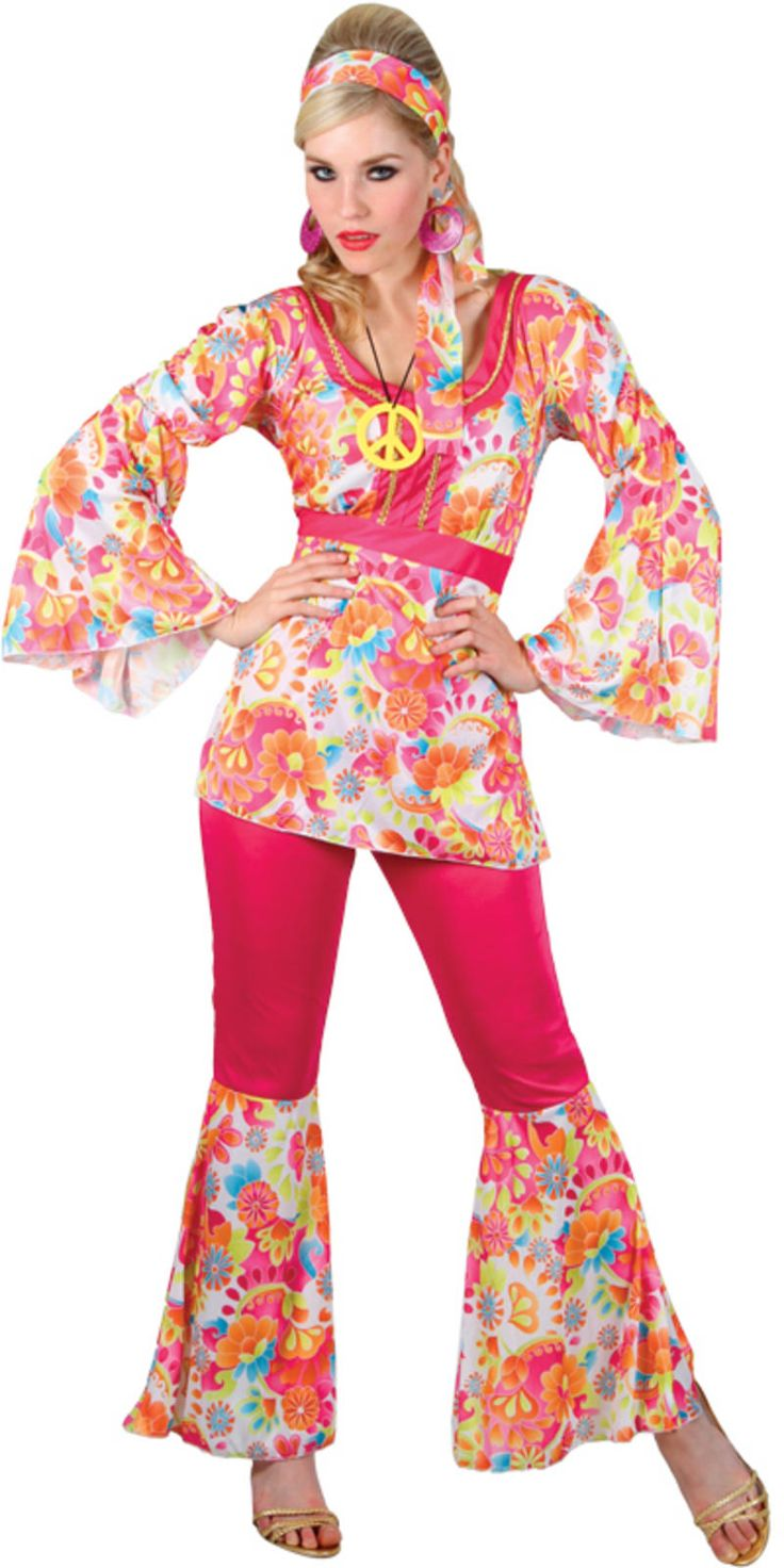 New Hippie Honey 60s Hippy Fancy Dress Party Costume L