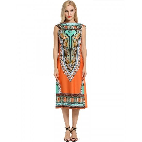 Women Ethnic Style Hooded Sleeveless Vintage Print A-Line Dress