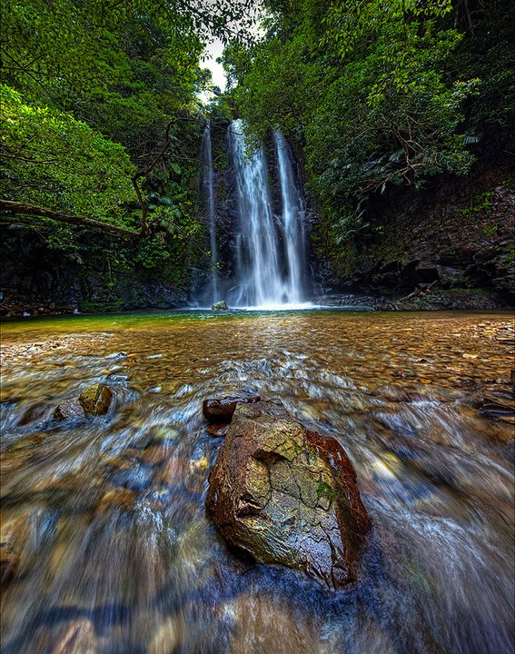 """Taa"" (Taki) Waterfall in Okinawa, Japan. In Ogimi Village you need to walk 15-20 minutes up stream to reach this waterfall, and it is an amazing and refreshing place to adventure to during summer. I highly recommend it for anyone visiting Okinawa... John Burgreen Photography    #MWHONEYMOON"