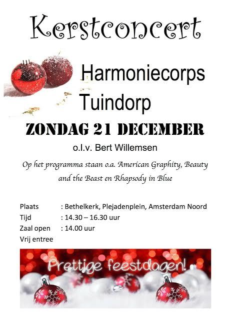 Kerstconcert Harmoniecorps Tuindorp, 21 december 2014, Bethelkerk, Plejadenplein, Amsterdam-Noord