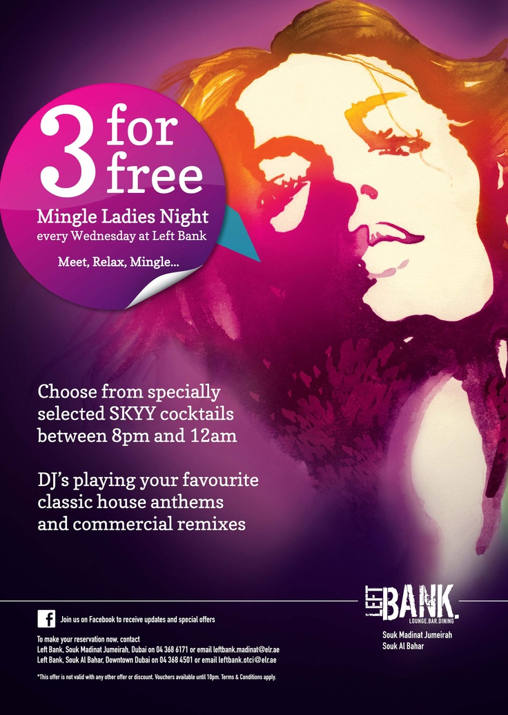Mingle Ladies Night at Left Bank Dubai - Every Wednesday !!  Click Here For More Info : http://www.doondoo.com/left-bank-dubai/ — at Left Bank - Dubai.