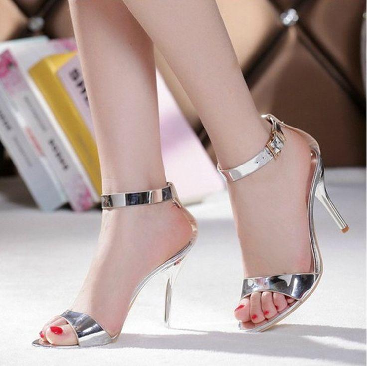 Été Sexy robe sandales argent talons aiguilles en cuir véritable robe de mariée chaussures de demoiselle d'honneur parti Prom talons(China (Mainland))