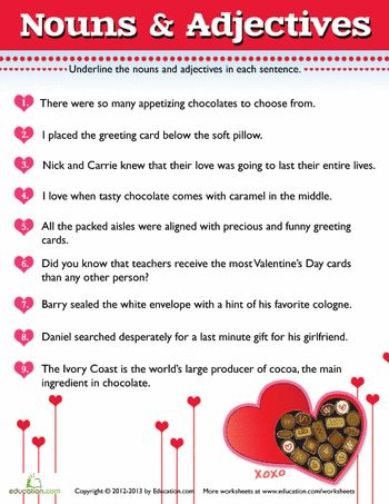 valentine nouns and adjectives 7 valentines worksheets and grammar. Black Bedroom Furniture Sets. Home Design Ideas