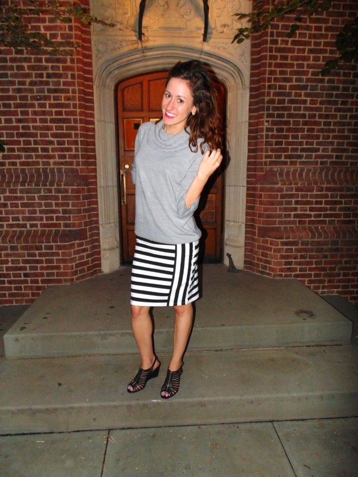 how to wear black and white striped skirt